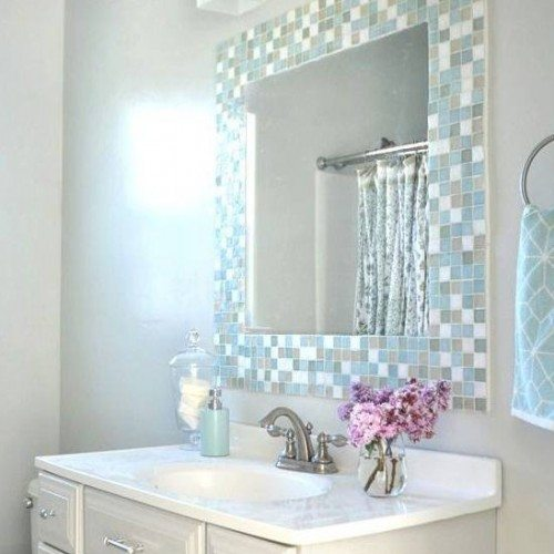 Vanity Mirror Set in Tile Frame in Bathroom | Mirrors Gallery | Anchor-Ventana Glass