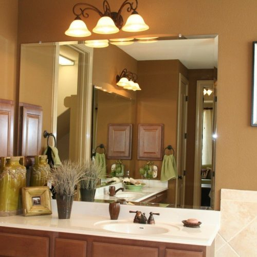 Frameless Beveled Vanity Mirror in Bathroom | Mirrors Gallery | Anchor-Ventana Glass
