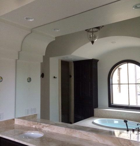 Custom Sized Frameless Mirror in Bathroom | Mirrors Gallery | Anchor-Ventana Glass