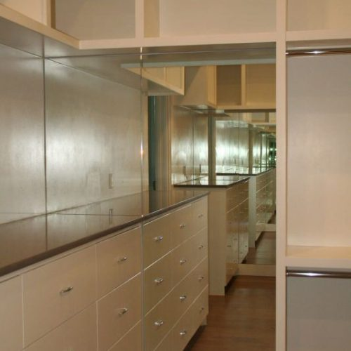 Frameless Mirror on Wall of Custom Closet Built-In | Mirrors Gallery | Anchor-Ventana Glass
