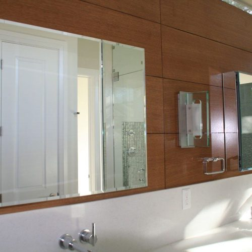 Frameless Mirrored Cabinets in Modern Bathroom | Mirrors Gallery | Anchor-Ventana Glass