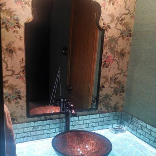 Back Lit Glass Countertop in Bathroom | Mirrors Gallery | Anchor-Ventana Glass