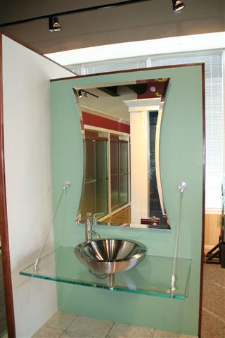Beveled Hour Glass Mirror set with Standoffs   Mirrors Gallery   Anchor-Ventana Glass