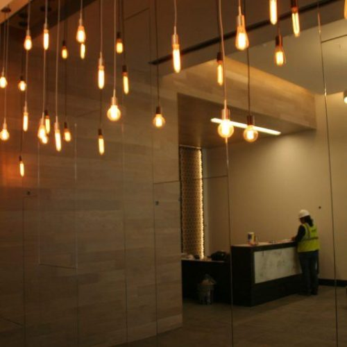 Frameless Mirror Wall in Commercial Building   Mirrors Gallery   Anchor-Ventana Glass