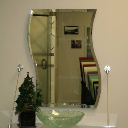 Clear Glass Countertop Suspended From Wall with Cable System in Bathroom   Mirrors Gallery   Anchor-Ventana Glass