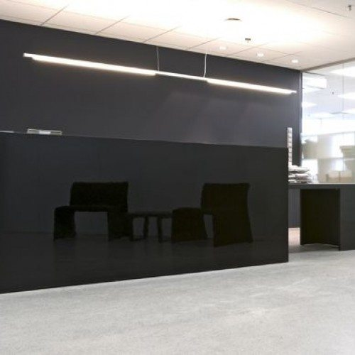 Black Glass in Modern Office Reception Area | Other Commercial Glass | Commercial Products | Anchor-Ventana Glass