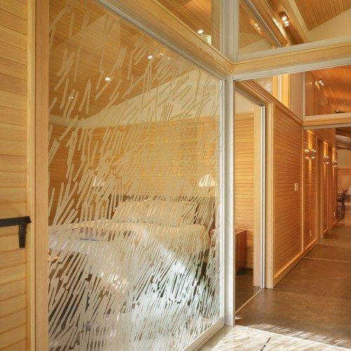 Etched Glass Wall on Interior Glass Wall System | Other Residential Glass | Residential Glass Gallery | Anchor-Ventana Glass