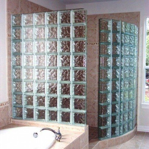 Nubio Glass Block Corner Shower & Wall | Other Residential Glass | Residential Glass Gallery | Anchor-Ventana Glass