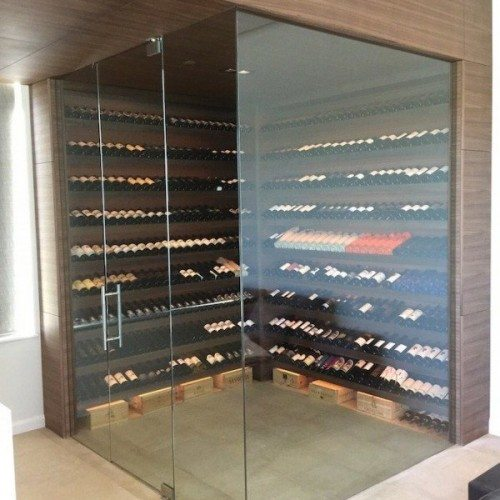 Interior Glass Wall System & Door for Wine Room | Other Residential Glass | Residential Glass Gallery | Anchor-Ventana Glass
