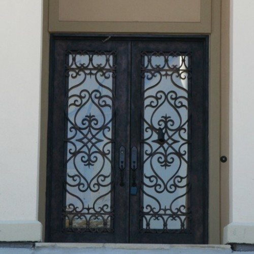 Glass Set in Wrought Iron Entry Doors & Transom | Other Residential Glass | Residential Glass Gallery | Anchor-Ventana Glass