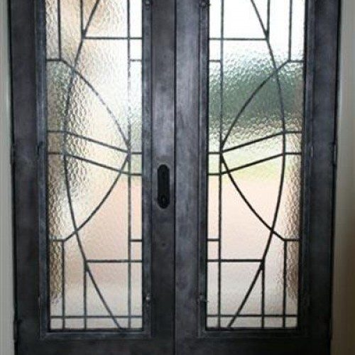 Aqua Glass Set in Wrought Iron Entry Door | Other Residential Glass | Residential Glass Gallery | Anchor-Ventana Glass