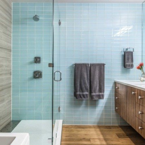 Frameless Inline Shower | Shower Gallery | Anchor-Ventana Glass