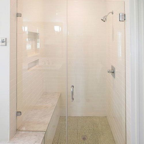 Frameless Inline Glass Shower | Shower Gallery | Anchor-Ventana Glass