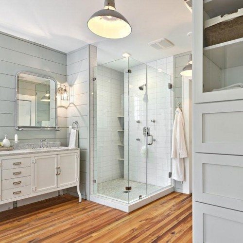 Frameless Corner Shower, Clear Cabinet Glass and Framed Mirror | Shower Gallery | Anchor-Ventana Glass
