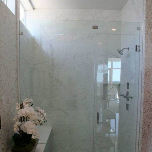 Frameless Inline Glass Shower in Bathroom | Shower Gallery | Anchor-Ventana Glass