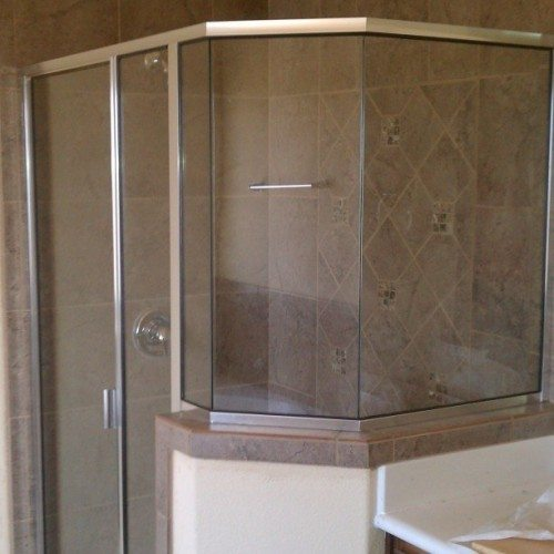 Simple Shower Framed Door | Tiled Wall Shower | Shower Gallery | Anchor-Ventana Glass