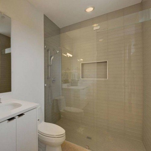 Frameless Inline Glass Shower and Frameless Mirror in Bathroom | Shower Gallery | Anchor-Ventana Glass