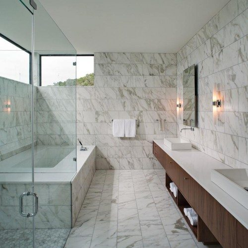 Frameless Shower with Fixed Panels | Shower Gallery | Anchor-Ventana Glass