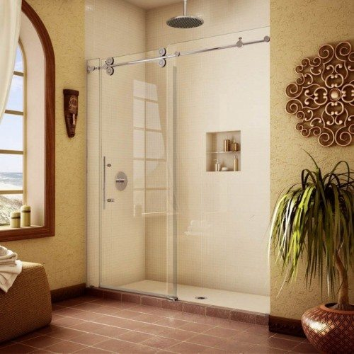 Frameless Pipeline Glass Shower Slider in Bathroom | Shower Gallery | Anchor-Ventana Glass