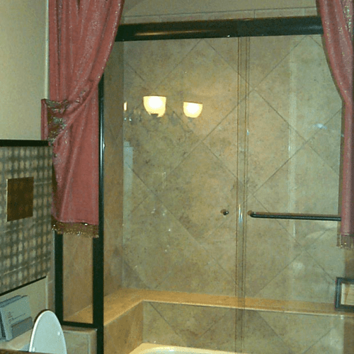 Frameless Glass Tub and Shower Door - Traditional Bathroom | Shower Gallery | Anchor-Ventana Glass