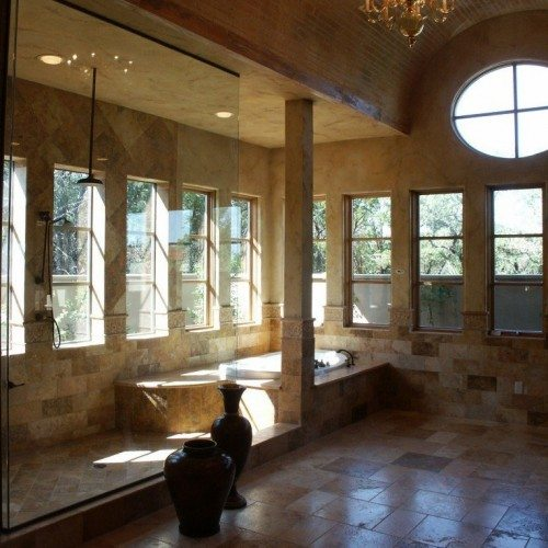 Frameless Fixed Panel Set in Channel in Bathroom Shower | Shower Gallery | Anchor-Ventana Glass