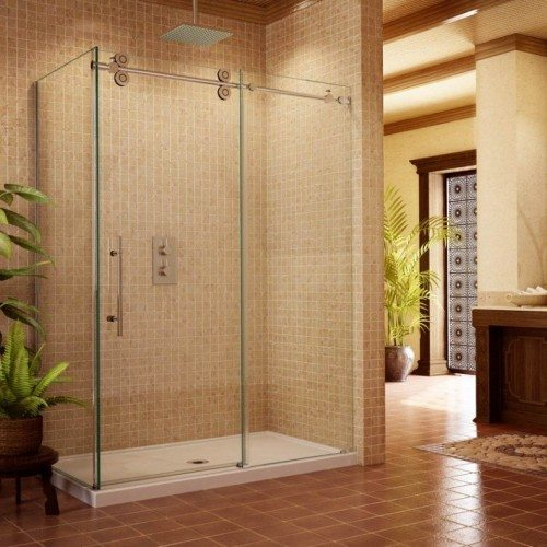 Frameless Pipeline Shower Slider with Corner in Bathroom | Shower Gallery | Anchor-Ventana Glass