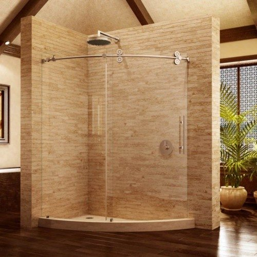 Frameless Pipeline Curved Glass Shower Slider in Bathroom | Shower Gallery | Anchor-Ventana Glass