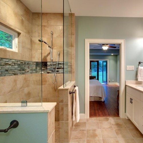 Frameless Fixed Panels Set With Clamps in Bathroom | Shower Gallery | Anchor-Ventana Glass