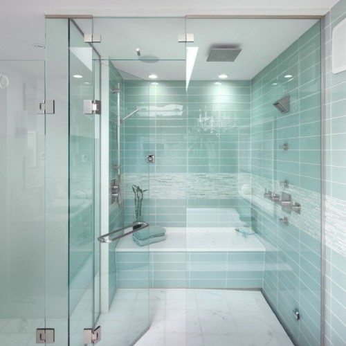 Frameless Shower Enclosure with Towel Bar in Door | Shower Gallery | Anchor-Ventana Glass