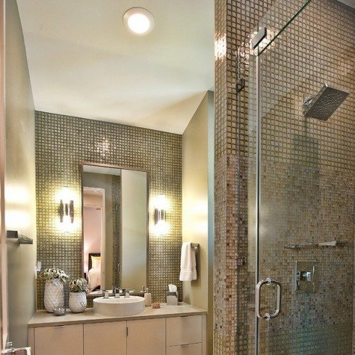 Contemporary bathroom design with glass shower door and vertical mirror | Shower Gallery | Anchor-Ventana Glass
