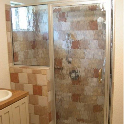 Framed Shower Door with Flemish Glass in Bathroom | Shower Gallery | Anchor-Ventana Glass