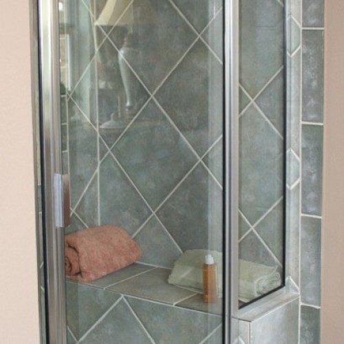 Traditional Framed Shower Door - Traditional Bathroom Tile | Shower Gallery | Anchor-Ventana Glass
