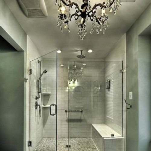 Frameless Shower Enclosure with Clamps at Notched Fixed Panel in Bathroom | Shower Gallery | Anchor-Ventana Glass