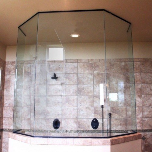 Frameless Custom Fixed Panels Set in Channel in Bathroom | Shower Gallery | Anchor-Ventana Glass