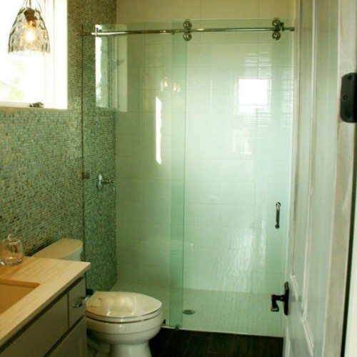 Simple Frameless Sliding Shower Enclosure in Bathroom | Sliding Shower Enclosures Gallery | Residential Products | Anchor-Ventana Glass