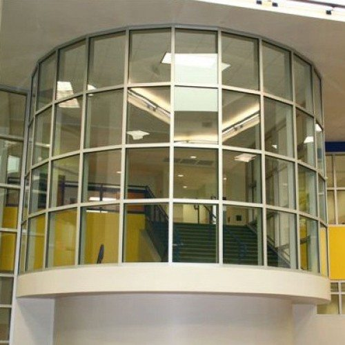 Interior View of Radius Curved Storefront | Commercial Storefronts | Commercial Products | Anchor-Ventana Glass